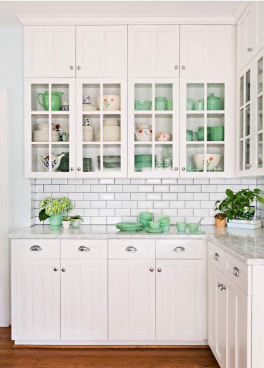 White Kitchen Cupboard with Jadeite Dishes