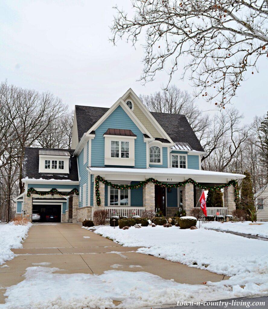 Light Blue Victorian Custom Homes in Naperville, IL
