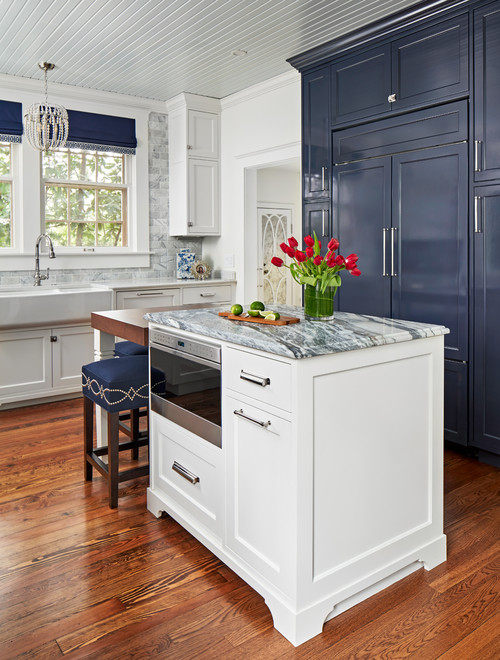 1900s Kitchen Remodel in White and Navy Blue