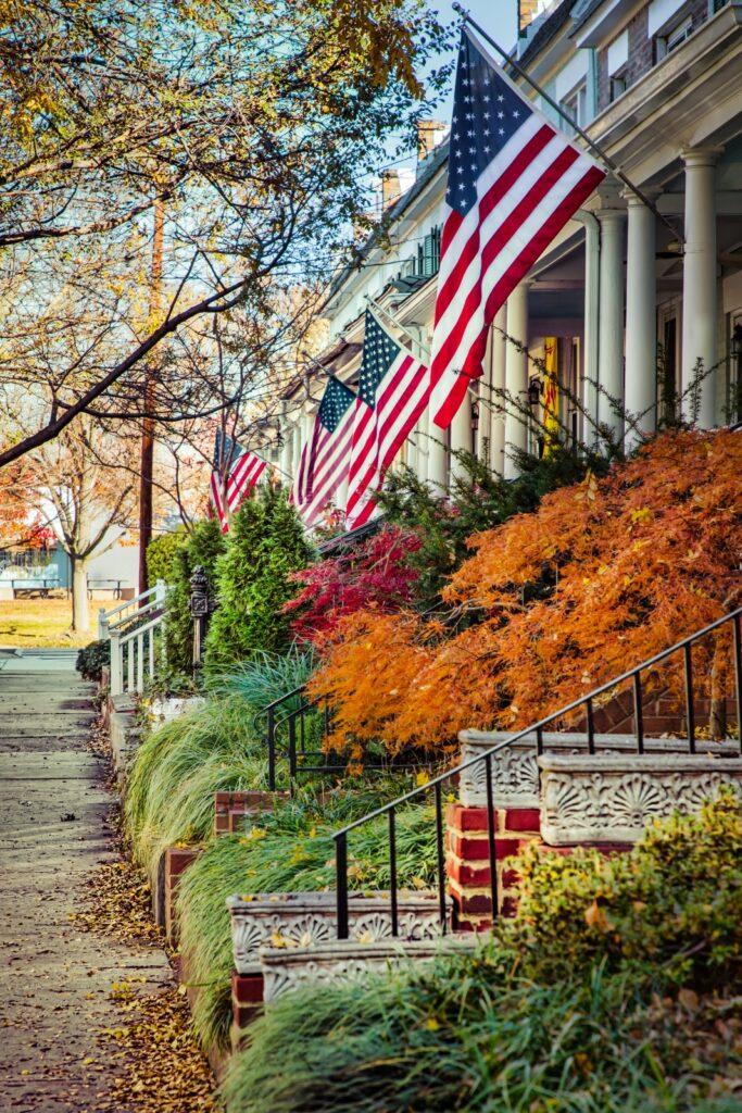 Flags waving in a patriotic northern Virginia neighborhood.