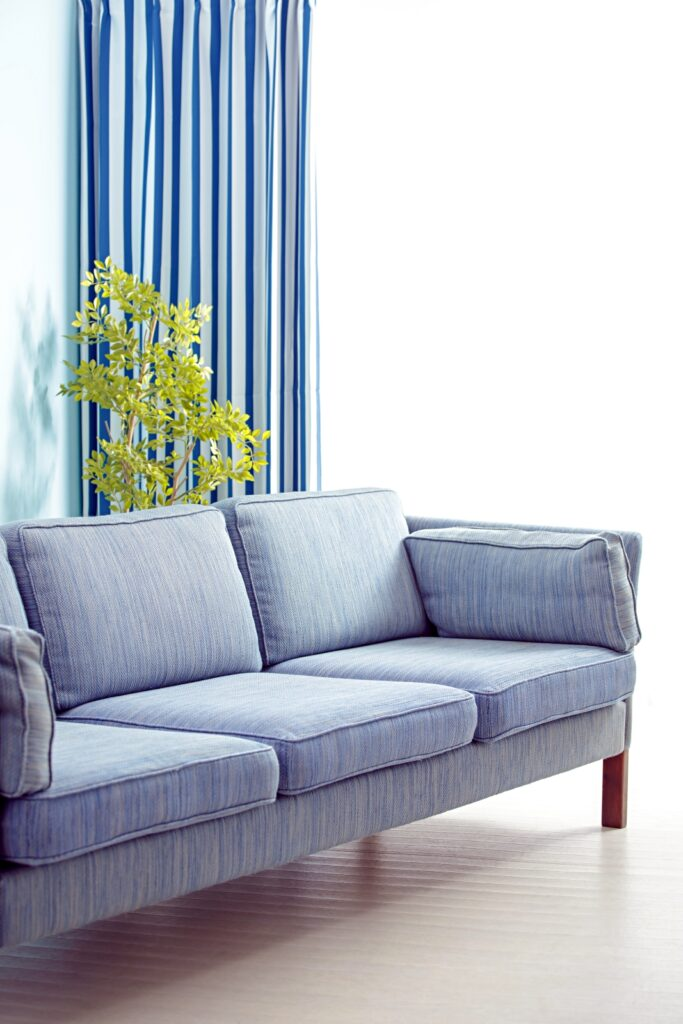 Pale Blue Couch in a Small Living Room