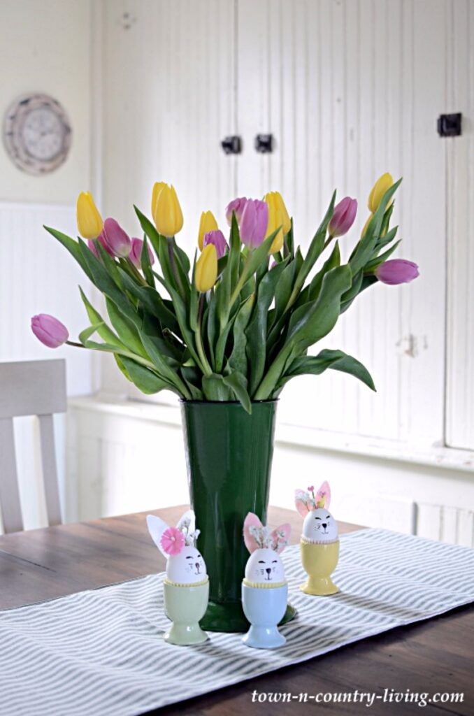 Colorful Spring Tulips in Green Enamelware Vase