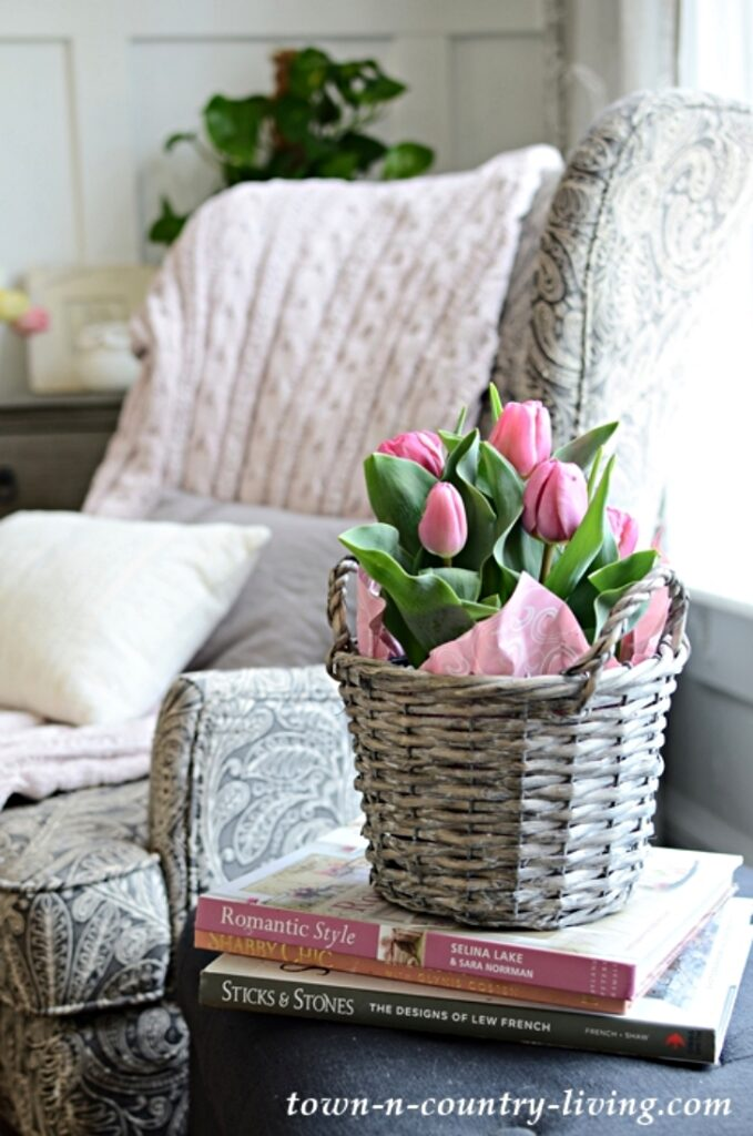 Potted Pink Tulips in a Gray Weathered Basket