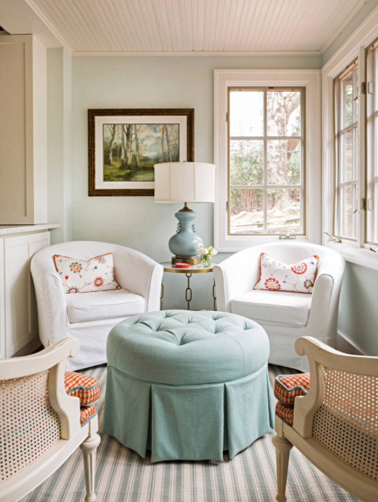 White and Powder Blue Sun Room
