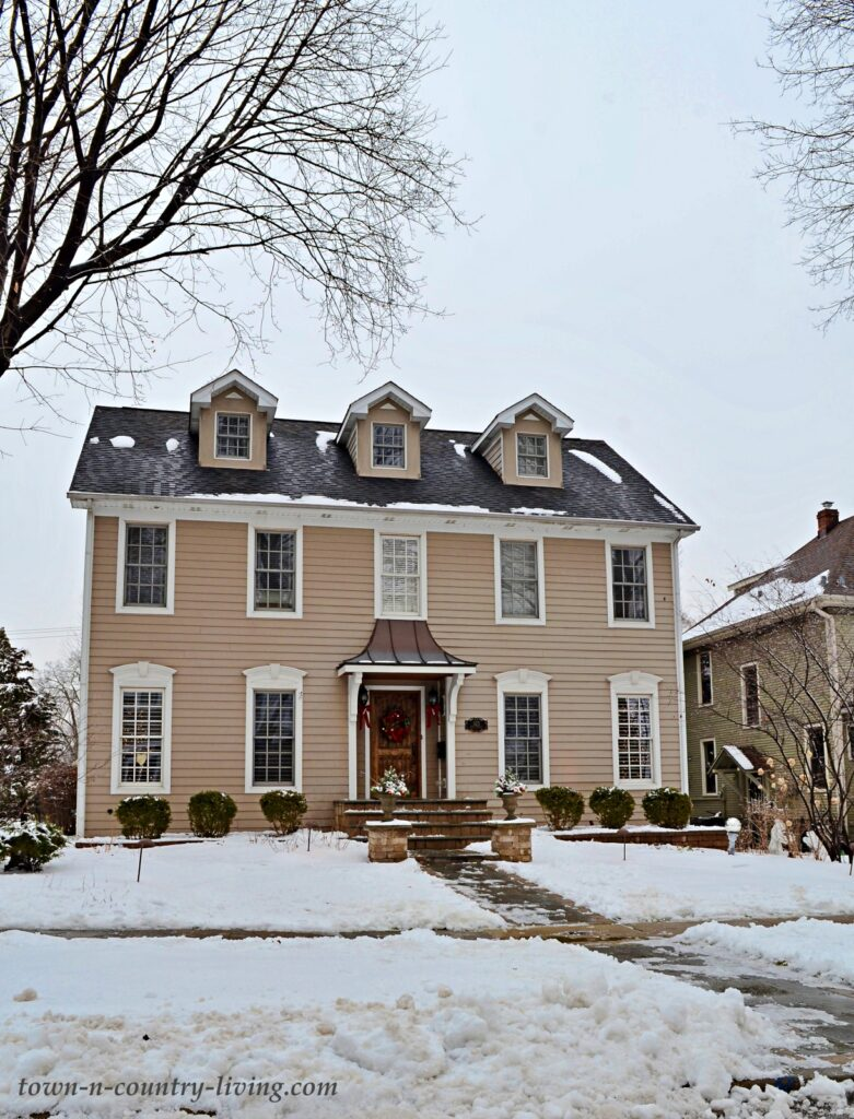 Classic Colonial Home with Tan Siding