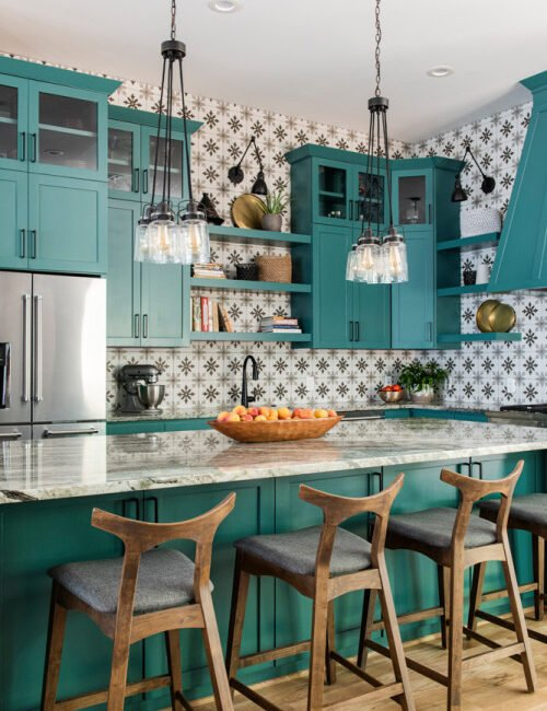 Teal-Colored Kitchen Cabinets with Island and Bar Stools