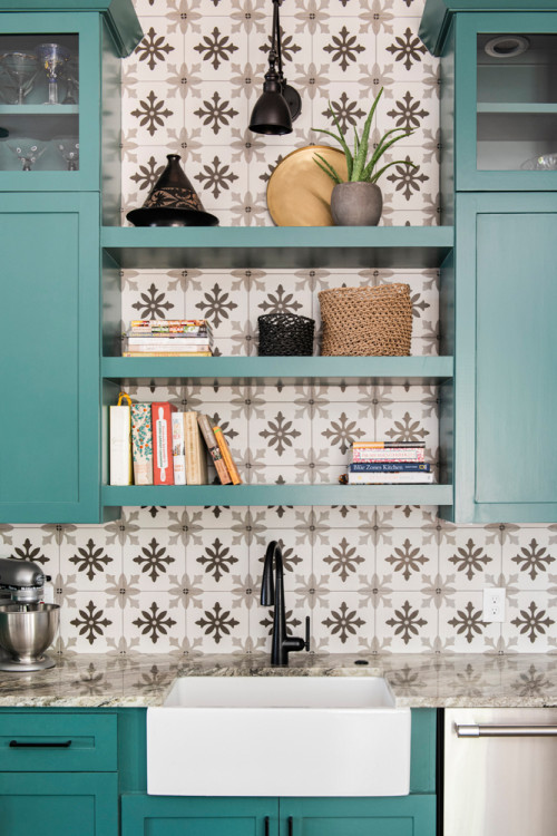 Teal-Colored Kitchen Cabinets with Open Shelves