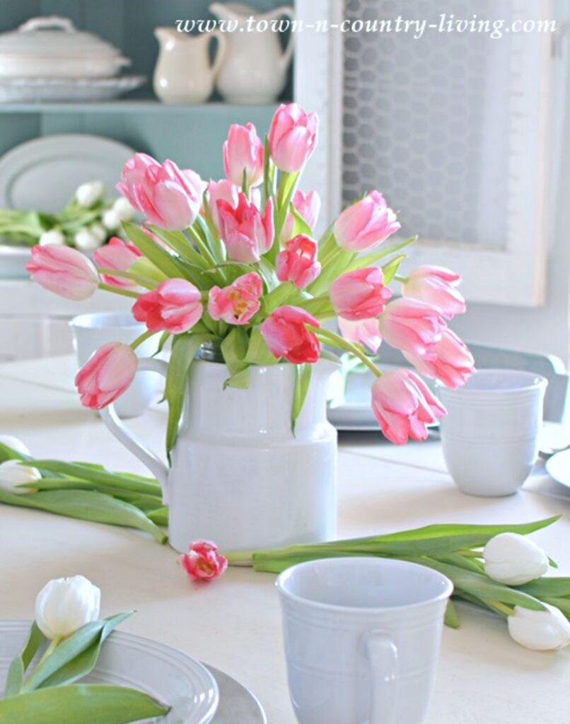 Pink Tulip Centerpiece in White Ironstone Pitcher