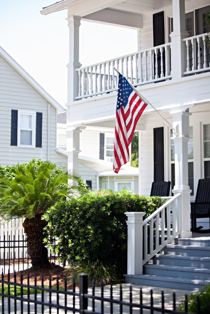 Two Story Southern White House with Double-Decker Porch