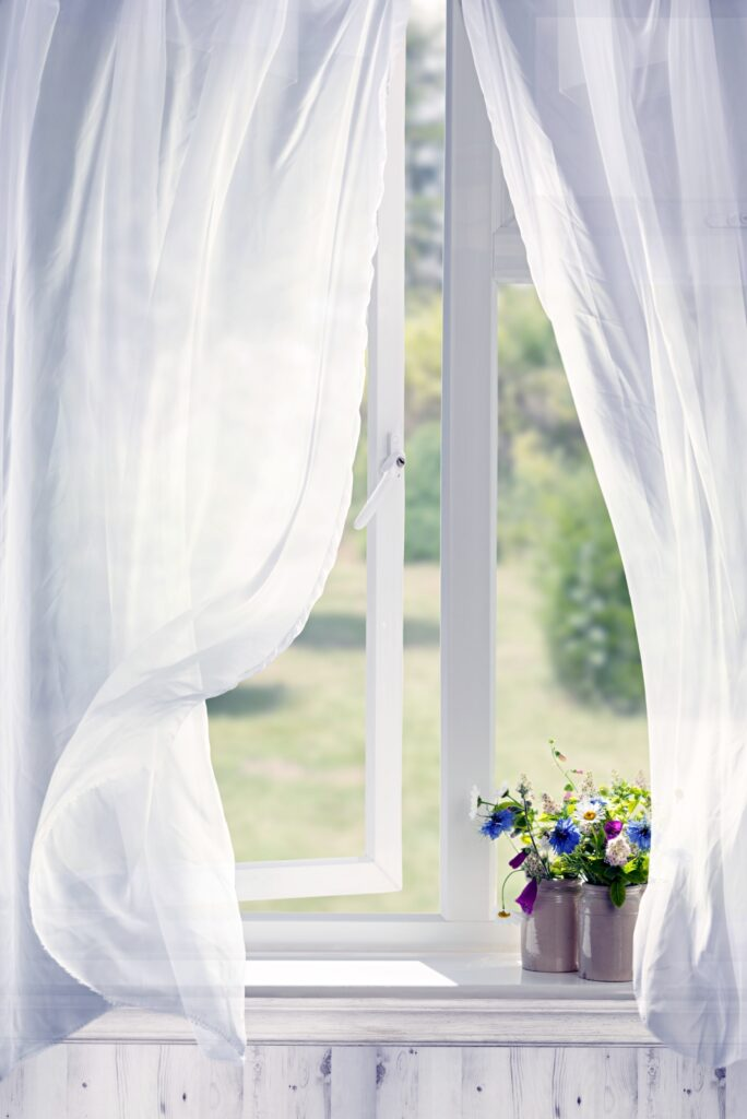 White wispy curtains in cottage window with flowers on windowsill
