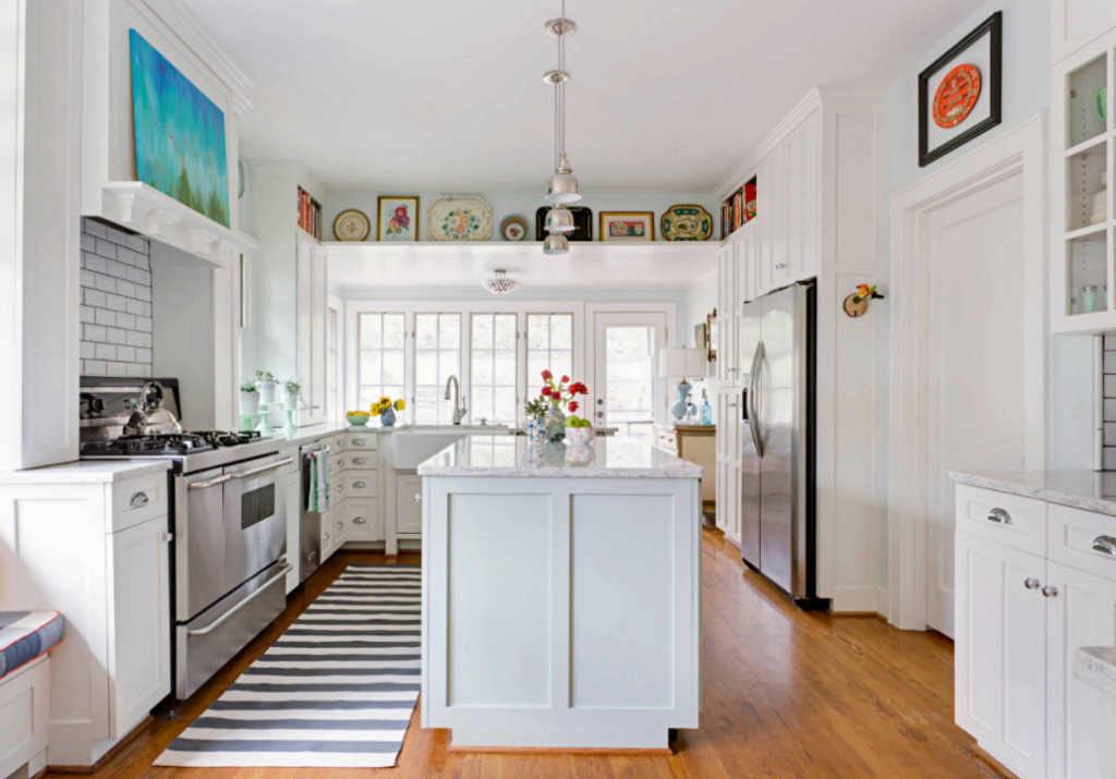 White Kitchen with Wood Floor in Eclectic Home
