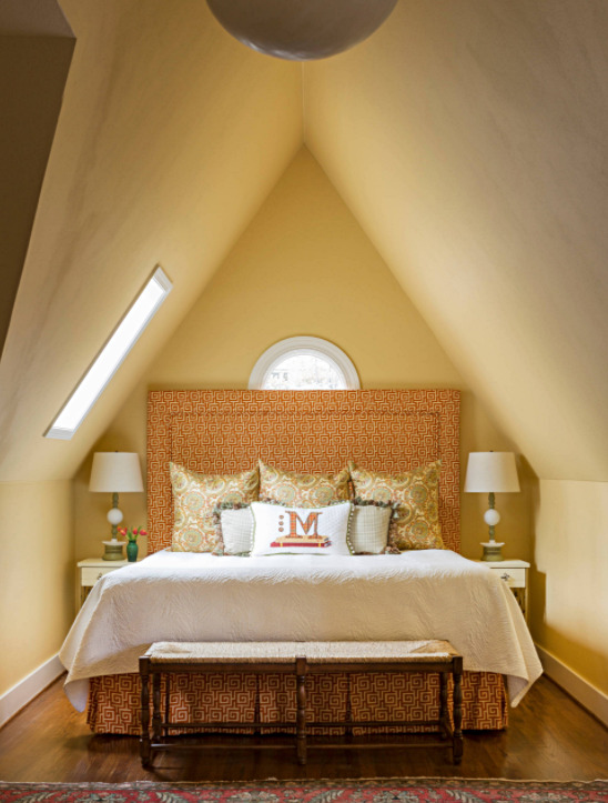 Yellow Master Bedroom with Vaulted Ceiling