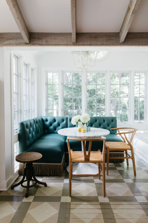 Cottage Breakfast Nook with Teal Banquette and Multiple Windows