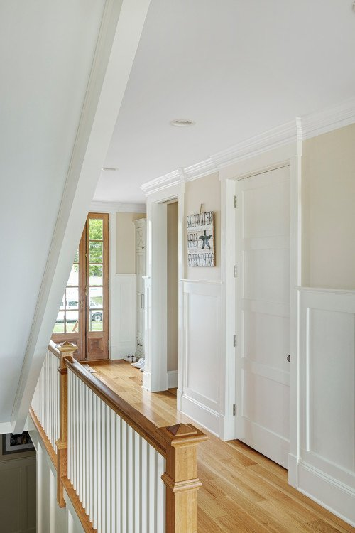 Upstairs Hallway in Wood and White
