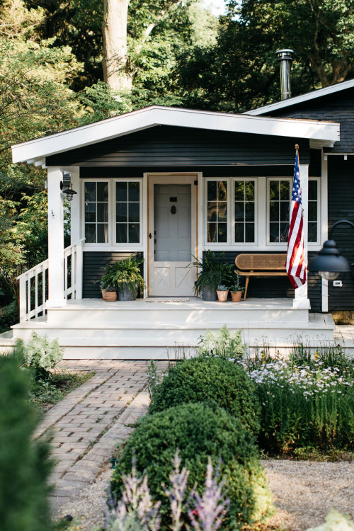 Front Porch of Dark Gray Beach Cottage