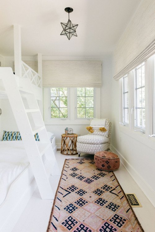 White Bunk Beds in Beach Cottage