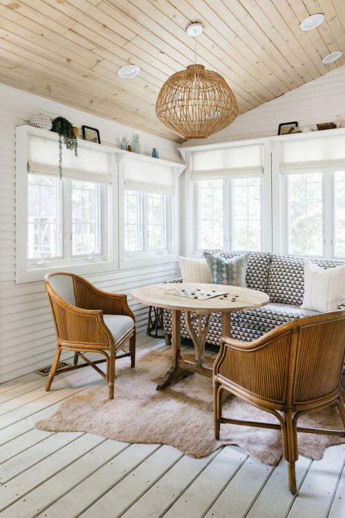 Eclectic Porch of Beach Cottage in Michigan