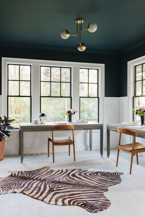 Dark blue and white home office