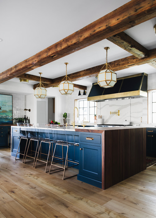 Large modern farmhouse kitchen with dark blue cabinets