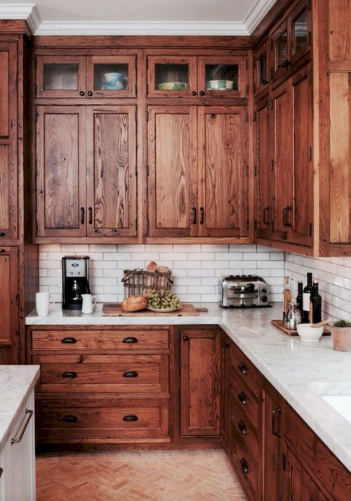 Wood Cabinets in a Country Kitchen