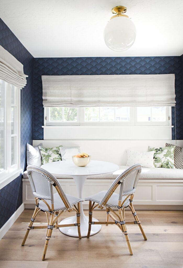 Beach Style Breakfast Nook with Dark Blue Wallpaper