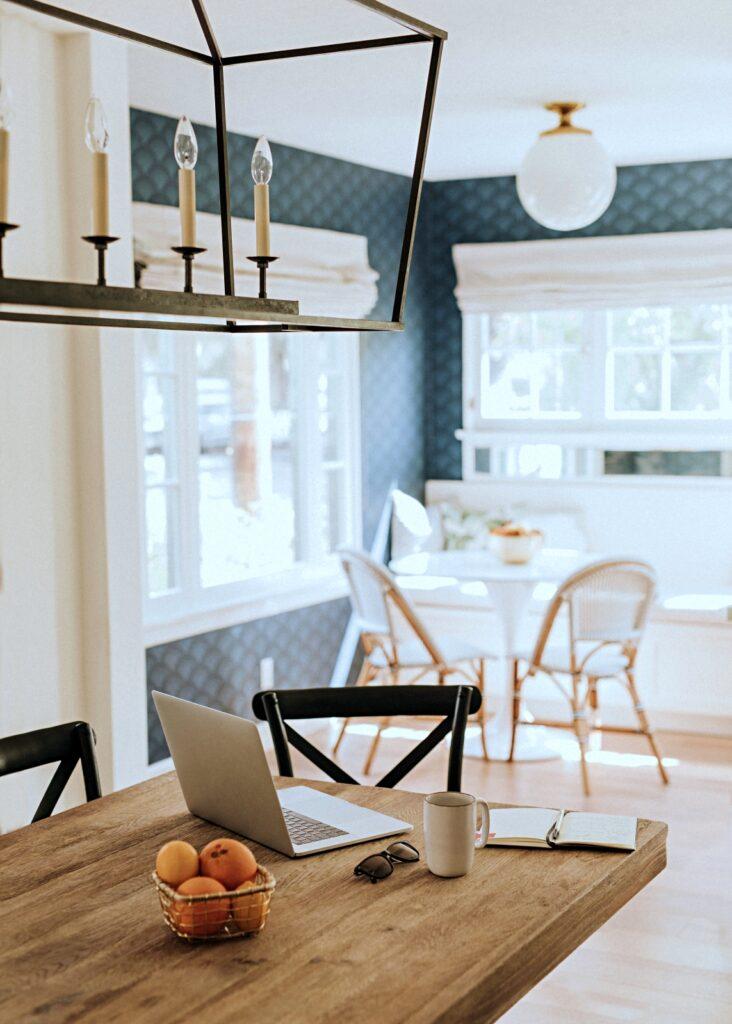 Farmhouse Table in Coastal Style Kitchen