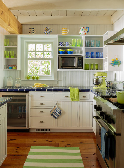 White Bungalow Kitchen with Pops of Green and Blue