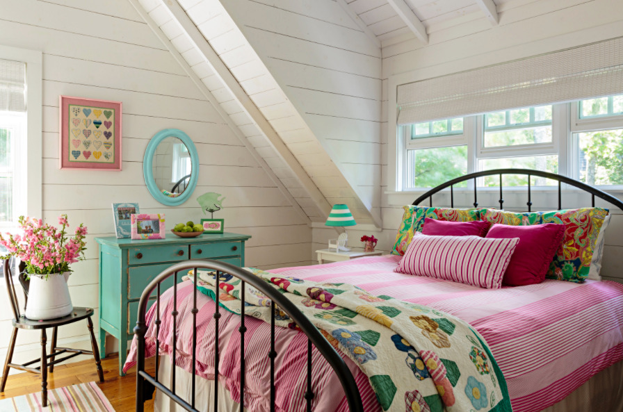 Colorful Master Bedroom in a Beach Bungalow