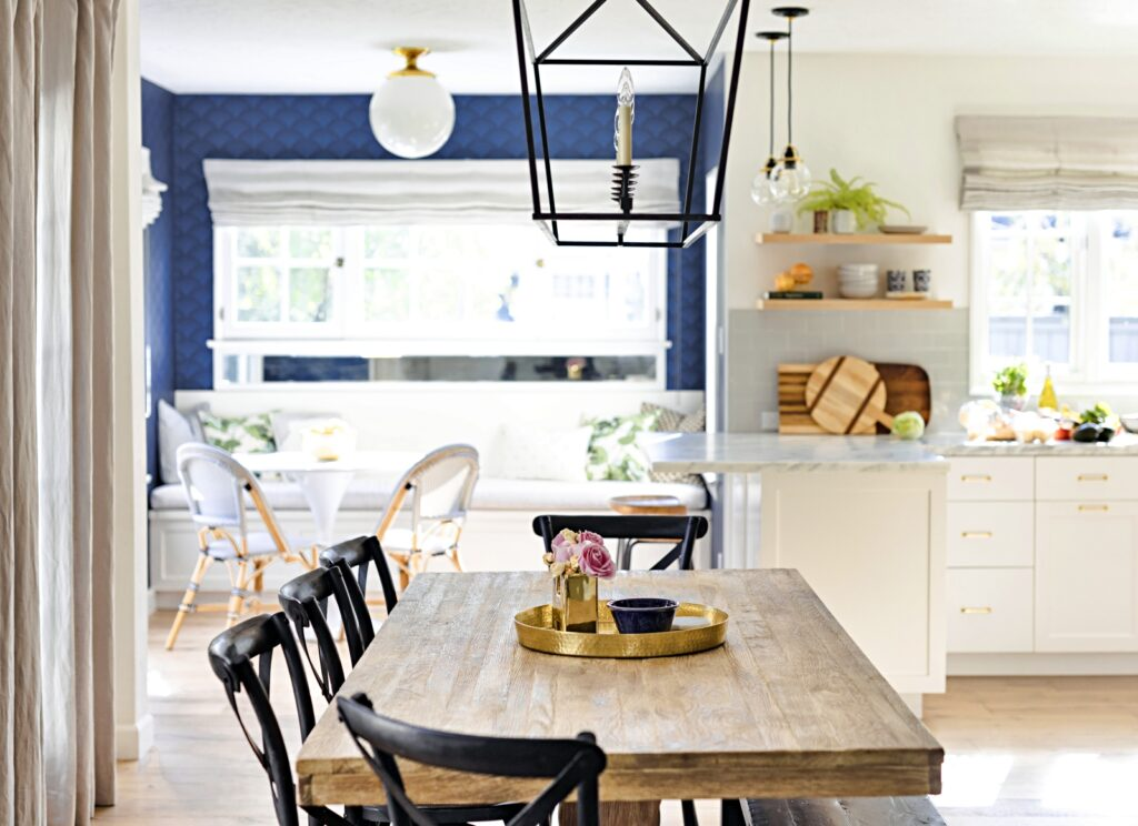 Farmhouse Table with Cross-Back Chairs in Coastal Kitchen