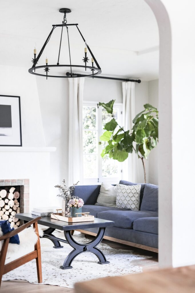 Clean and Uncluttered Living Room in White and Gray