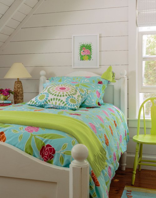 Cottage Style Girl's Bedroom with Shiplap Walls