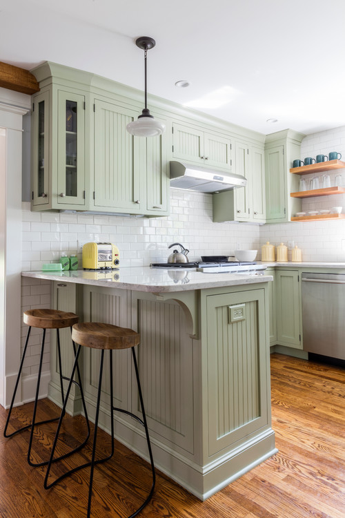 Light Green Cabinets in Classic Kitchen