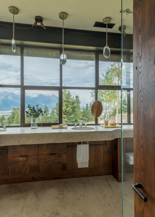 Luxury Bathroom in Wyoming Rustic Home