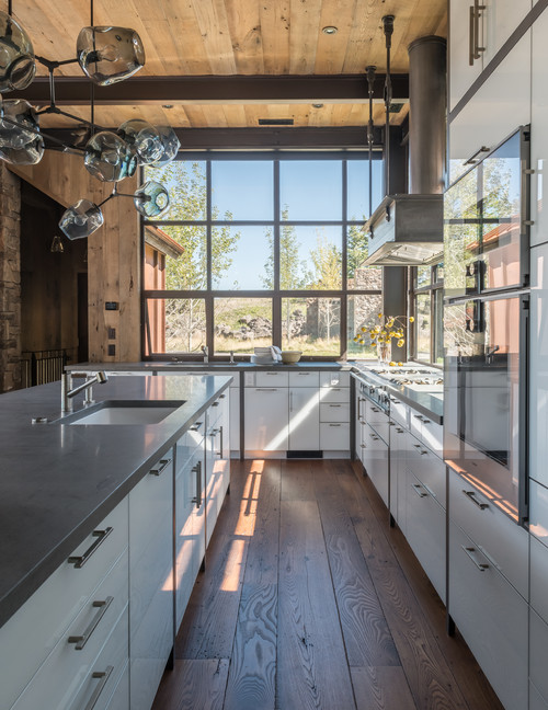 Rustic Industrial Kitchen in the Mountains