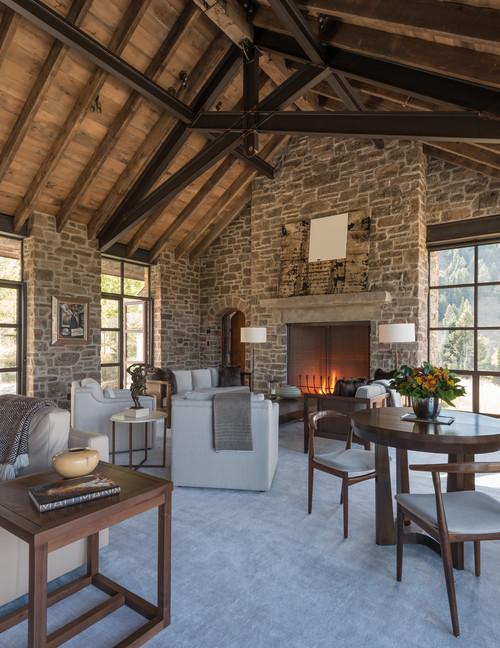 Open Concept Mountain Home Living Room