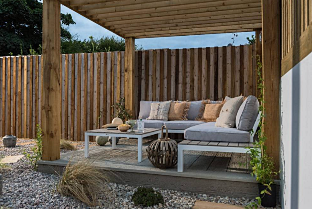 Outdoor Deck with Pergola and Outdoor Patio Furniture