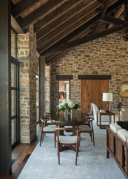 Dining Room with Rustic Stone Walls