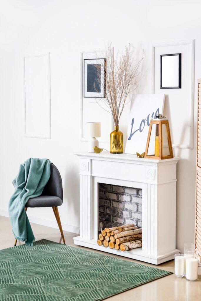 Modern Country White Fireplace Surround in Living Room