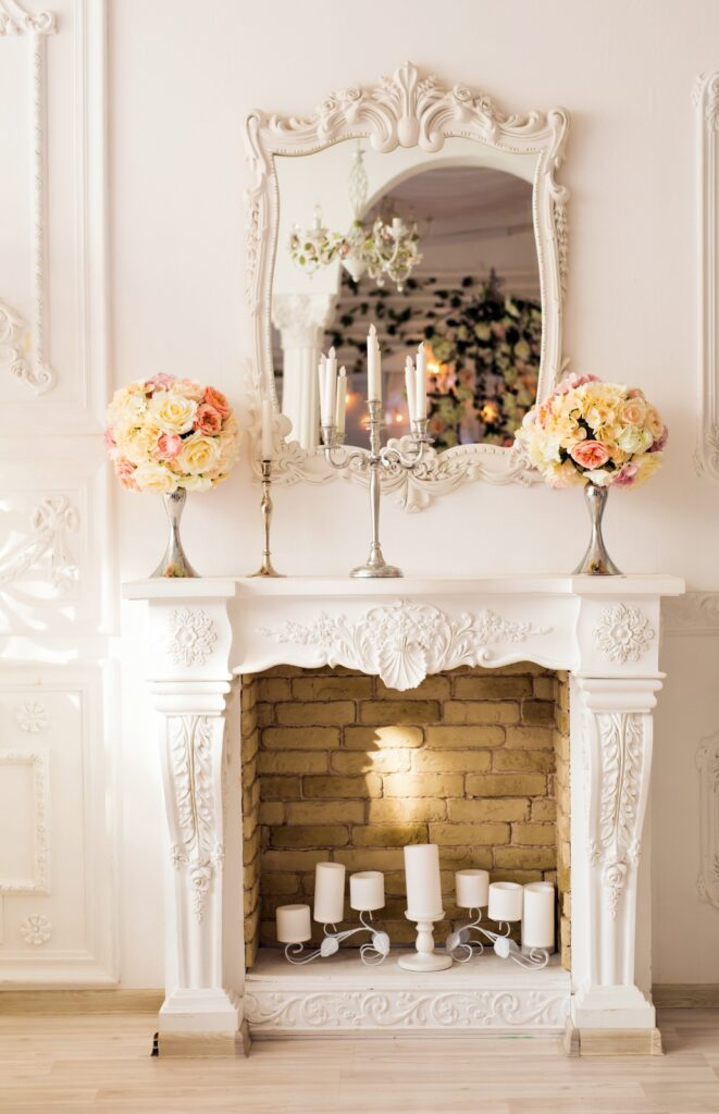 White Vintage Mantel with Candles Inside