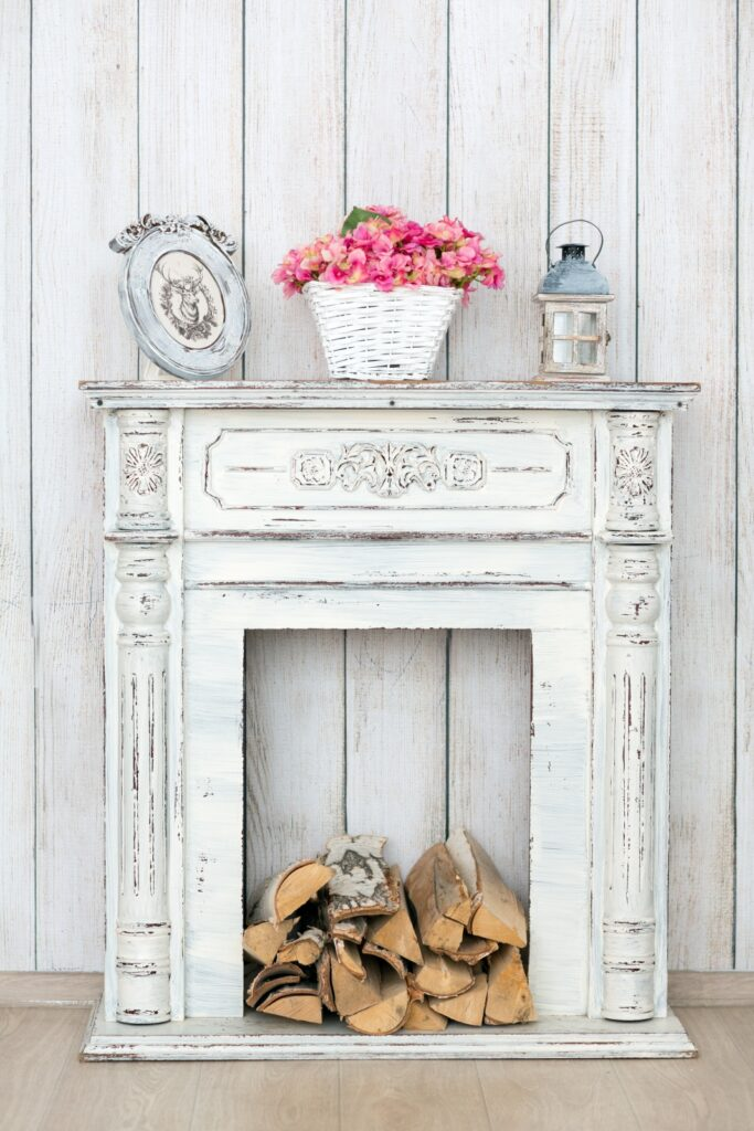 White Shabby Chic Style Fireplace Mantel