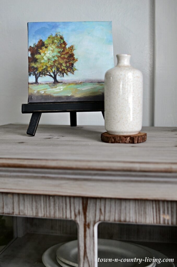 Small Landscape Painting on Tabletop Easel