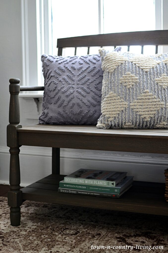Textured Gray Pillows on Wood Bench