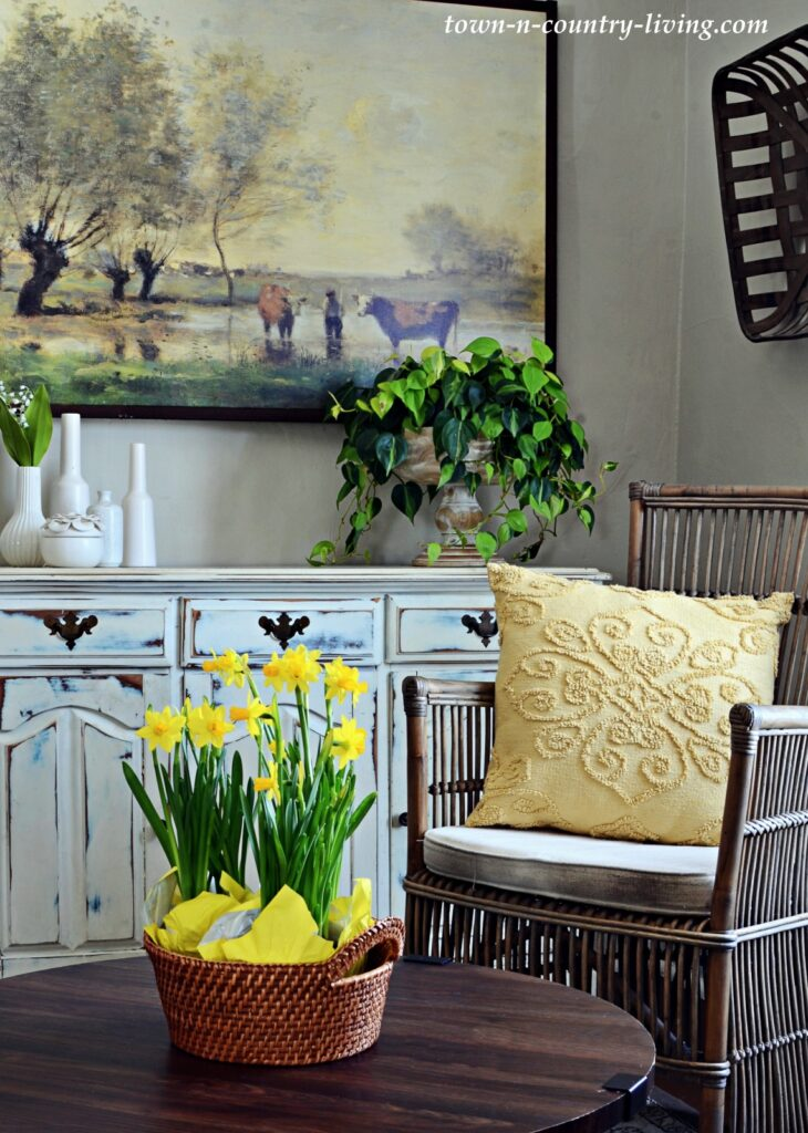Yellow Accents in a Spring Sitting Room - Home Tour