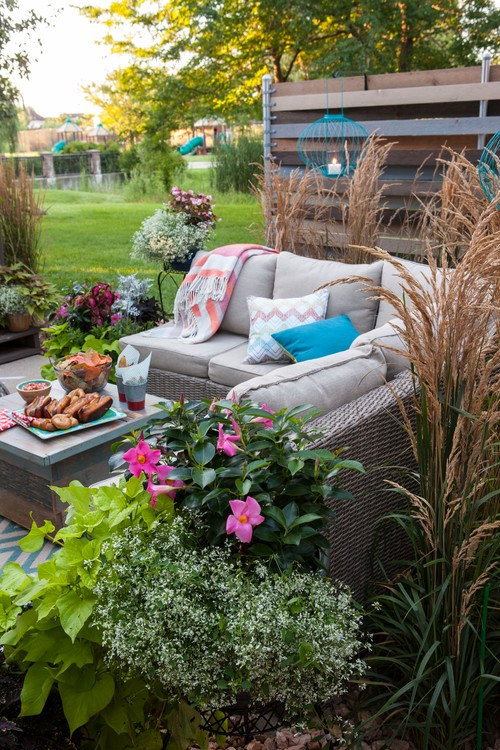 Backyard Patio Lounge with Couch and Coffee Table