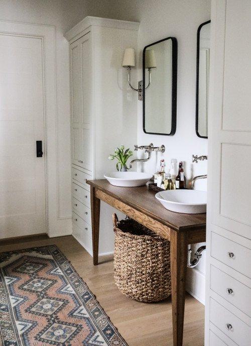 Modern Farmhouse Bathroom with Wood Table Vanity