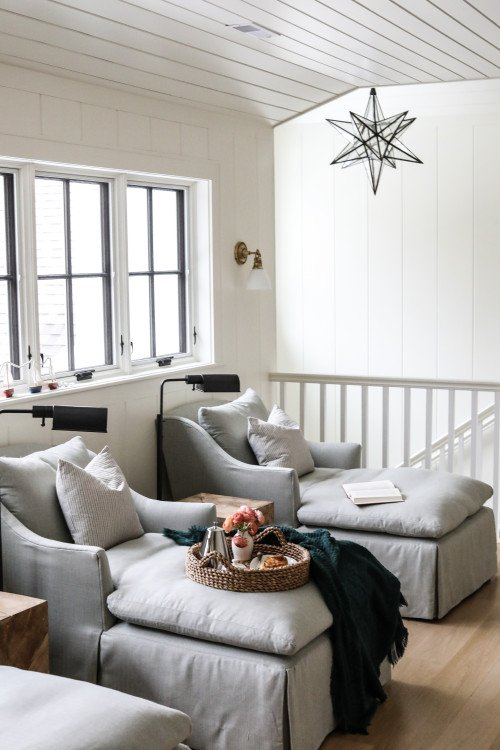 Pair of Chairs and Reading Lamps in Modern Farmhouse Loft