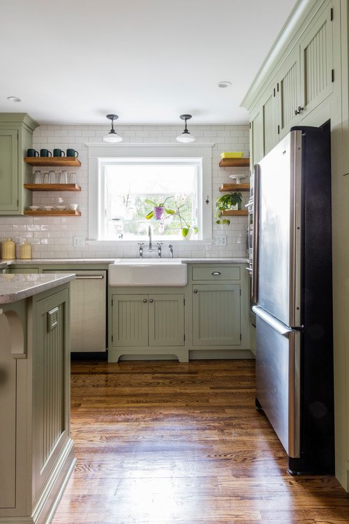 Classic kitchen with farmhouse sink and open shelves