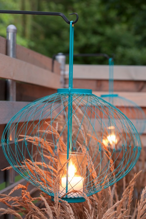 Painted Wire Orb Cages with Candles Inside