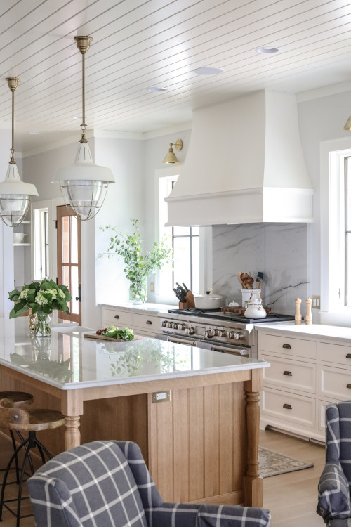 White and Wood Modern Country Kitchen