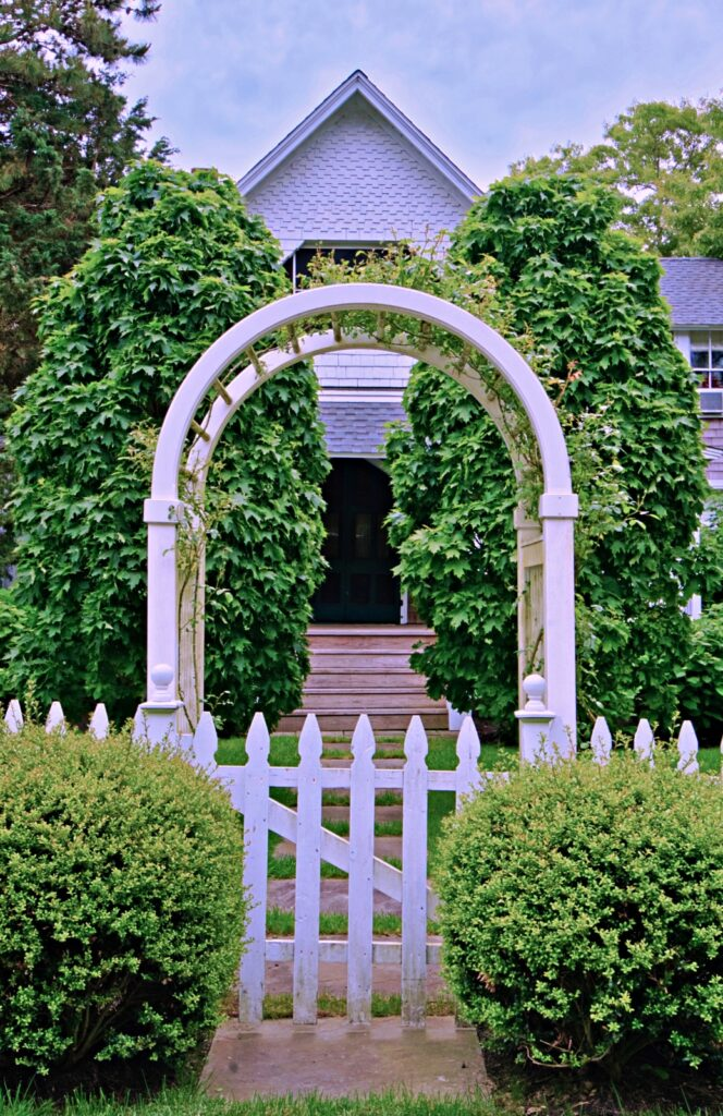 Arbor Style Gate Leading to Front Sidewalk and Door